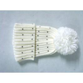 Cappellino Pon Pon in lana con Strass